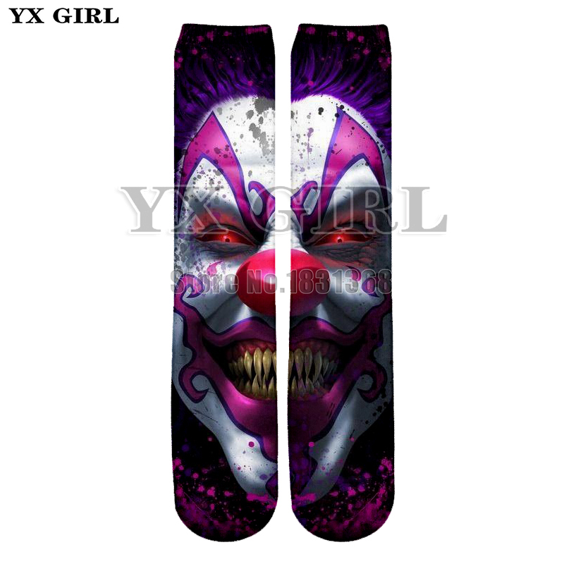 YX GIRL Skull man/women galaxy 3d print funny socks casual unisex cool Cotton long socks