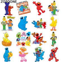 ZOTOONE Fashion popular cartoon patch ironing Clothing DIY heat transfer vinyl Sesame Street T-shirt printing sticker D