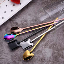 Tofok Creative New Sharp Square Round Shaped Milk Tea Coffee Stirring Scoop Stainless Steel Dessert Ice Cream Spoon For Cafe Bar