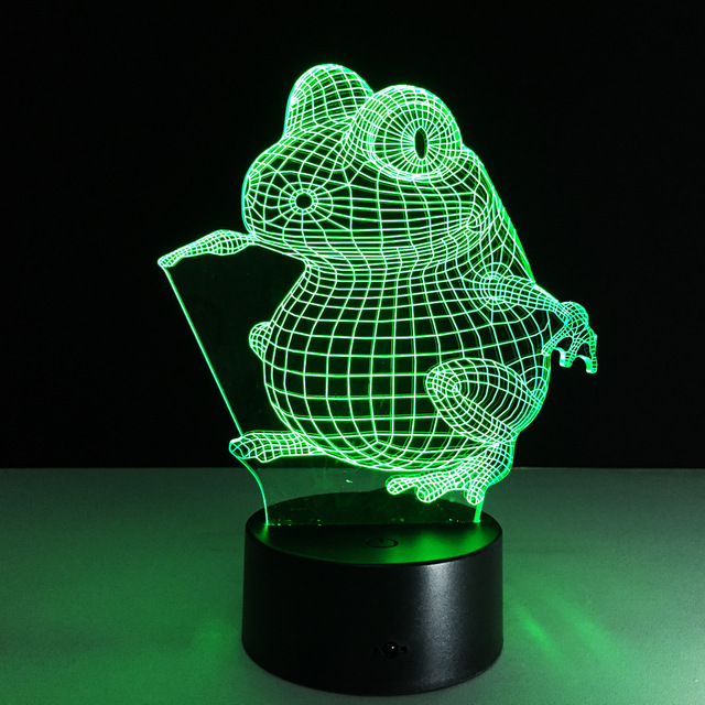 3D Frog Lamp 7 Color Led Night Lamps for Kids Touch Led USB Table ...