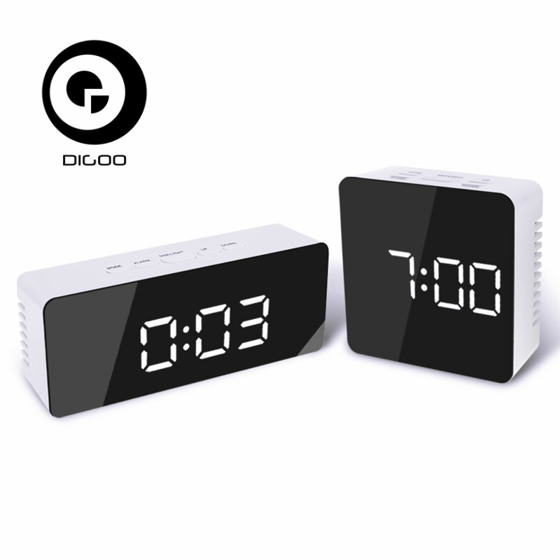 Digoo DG-DM1 DM1 Wireless USB Mirror LED Digital Therometer Time Temperature Night Mode Lights Black Snooze Alarm Clock