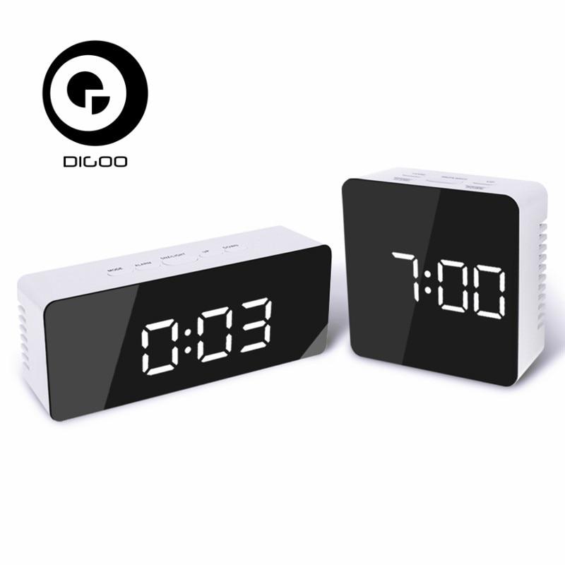 Digoo DG-DM1 DM1 Wireless USB Mirror LED Digital Therometer Time Temperature Night Mode Lights Black Snooze Alarm Clock