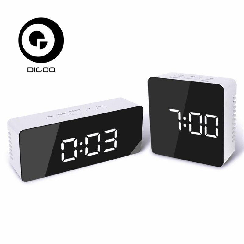 Digoo DG-DM1 DM1 Wireless USB Spiegel LED Digital Therometer Zeit Temperatur Nachtmodus Lichter Schwarz Snooze Wecker