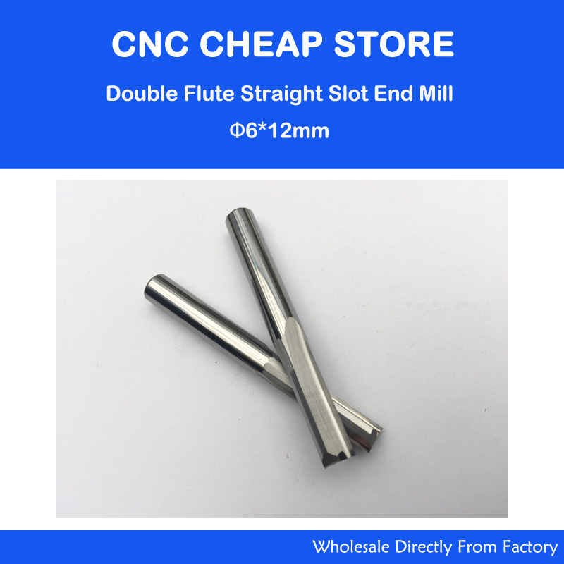 NEW 5pcs/lot 6*12MM Carbide Two/Double Flute Straight Slot Router Bit, CNC Carving Engraving Tools, Milling Cutter Free Shipping