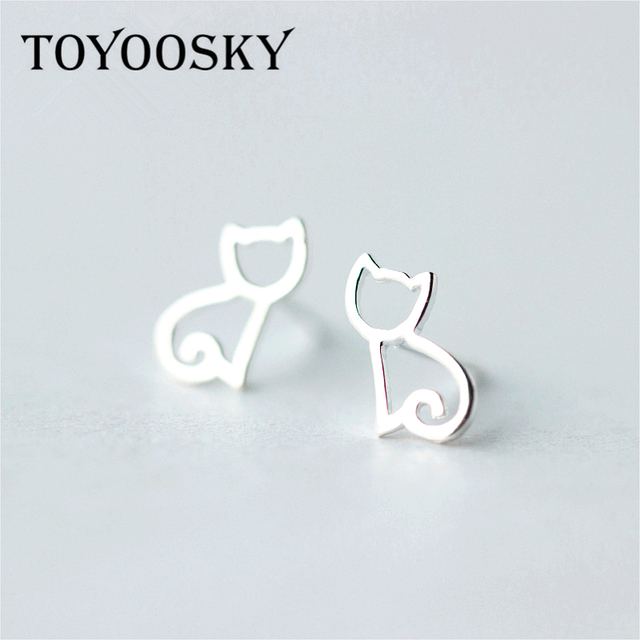 Y Tiny Kitty Cat 925 Sterling Silver Minimalist Genuine Hollow Open