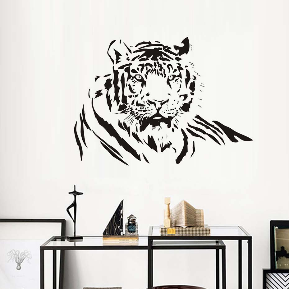 Free Shipping PVC Waterproof Animals DIY Wall Sticker Tiger Lying Living Room Removable Big Cat Modern Fashionable Home Decor