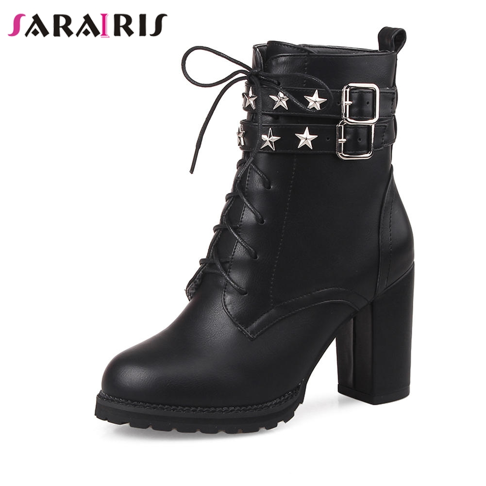 SARAIRIS Hot Sale Solid Ankle Platform Motorcycle Boots Women Autumn Winter 2018 Large Size 33-43 High Heels Shoes Woman