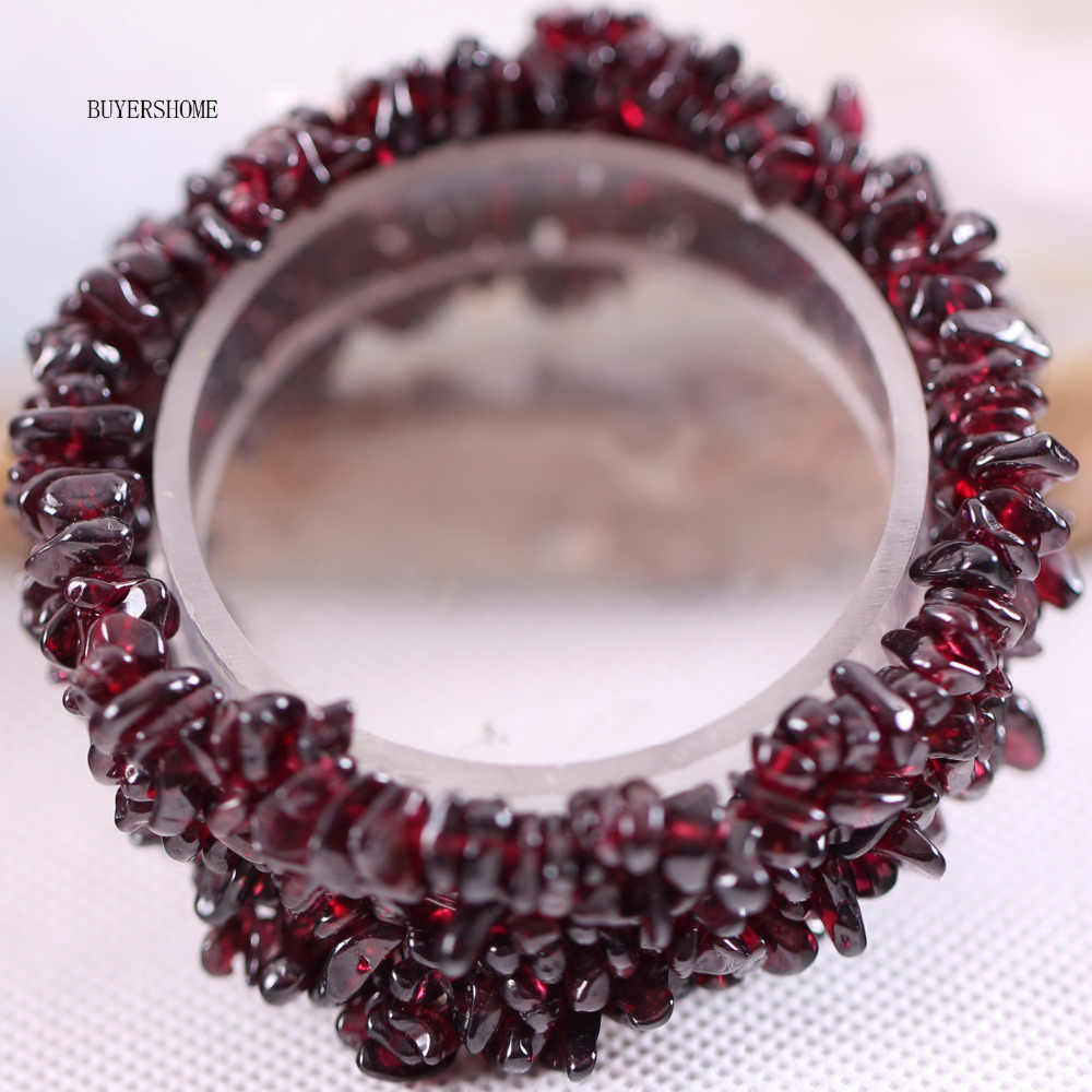 "Free Shipping Fashion Jewelry Stretch Chip beads Weave Red Natural Garnet Bracelet 7"" 1Pcs H041"