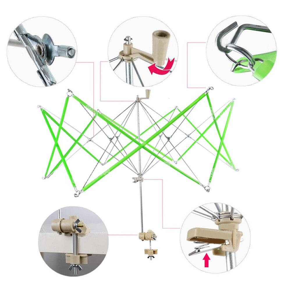 Paraguas de Metal, enrollador de hilo rápido, broches de lana operados a mano, línea de cuerda, enrollador de bolas, soporte para máquina, accesorios para herramientas de punto
