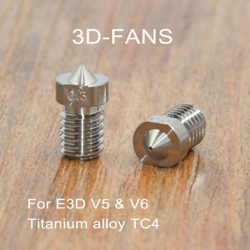 "E3D V6 & V5 טיטניום סגסוגת TC4 נחיר J-ראש מכבש 0.3/0.4/0.6/0.8/ 1.0/1.2/1.5 מ""מ עבור 1.75 מ""מ אספקת עבור 3D מדפסת"