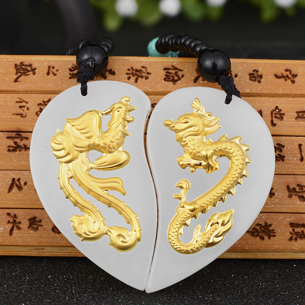 A Pair Gold Jade Dragon and Phoenix Pendant for Men Women Necklace Natural Emerald Jade Pendan Fine Jewelry купить недорого в Москве