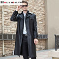 Trench Coat Men Long Black Classic Turn Collar Autumn Winter Pea Coats Casual Overcoat Single breasted Pu Trenchs Jackets M-4XL