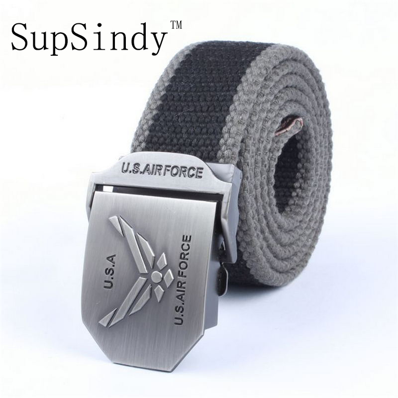 SupSindy men's canvas belt US Air Force metal buckle military belt Army tactical belts for Male top quality men strap for jeans