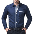 Black/Red/Navy Blue Men 2017 Long Sleeve Casual Men Stylish Slim Fit Solid dress Shirts Tops Camisa Masculina Plus Size 5253
