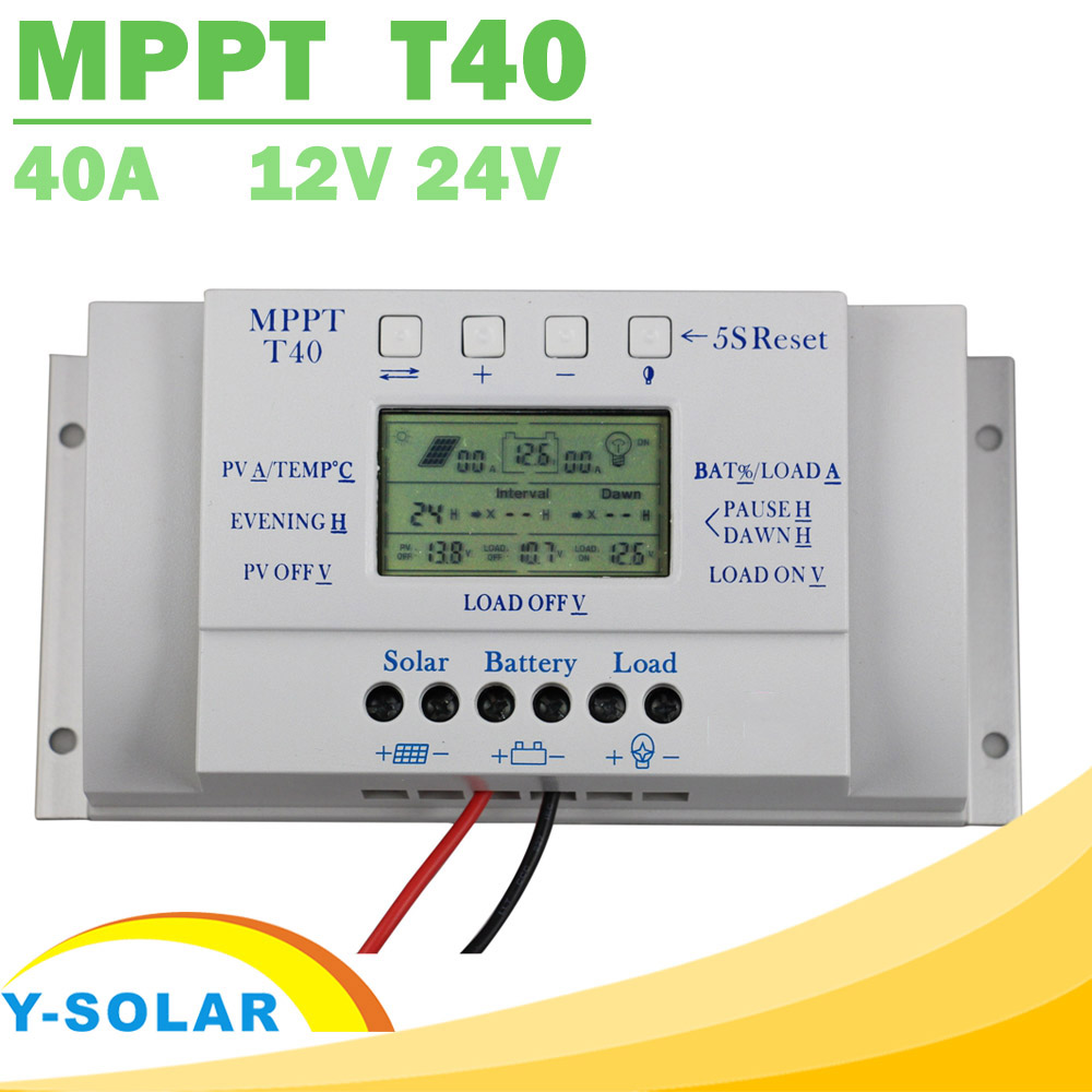 Mppt t40 40a regulador de carga solar 12 v 24 v display lcd automático controlador com controle de carga dupla temporizador para sistema de luz de rua
