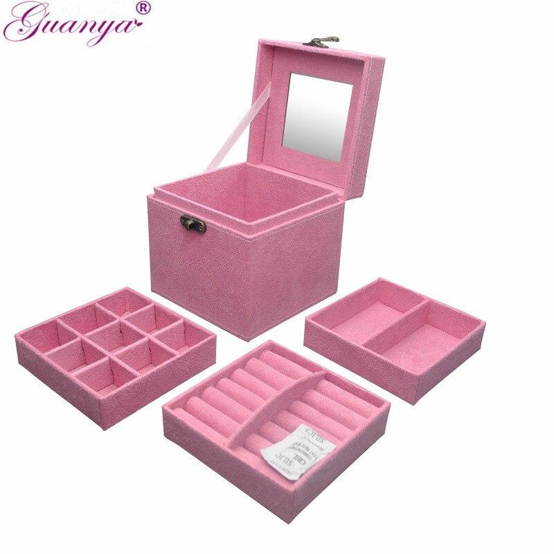 Guanya tres capas de terciopelo caja de joyería anillo collar de almacenamiento de franela maquillaje organizador mujeres San Valentín caja de regalo