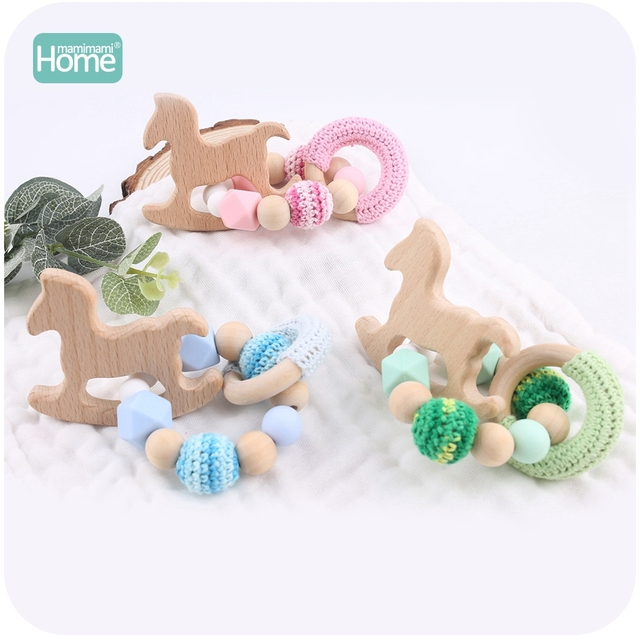 MamimamiHome 2pc Baby Rattle Beech Horse Wood Teething Crochet Beads Bracelets Montessori Toys For Children Baby Crochet Toys 4