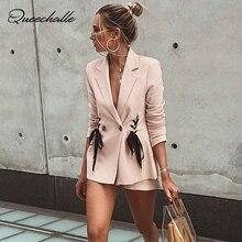 Queechalle 2018 Autumn Pink Blazers Office Lady Suit Coat Women's Side Tie Up Formal Elegant Outwear Long Sleeve Notched Coat