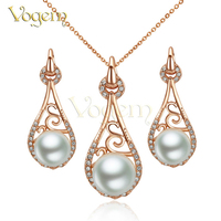 VOGEM Merry Christmas Luxury Jewelry Sets Necklace Earrings Freshwater Pearl Bridal Wedding Jewellery Set Online Shopping