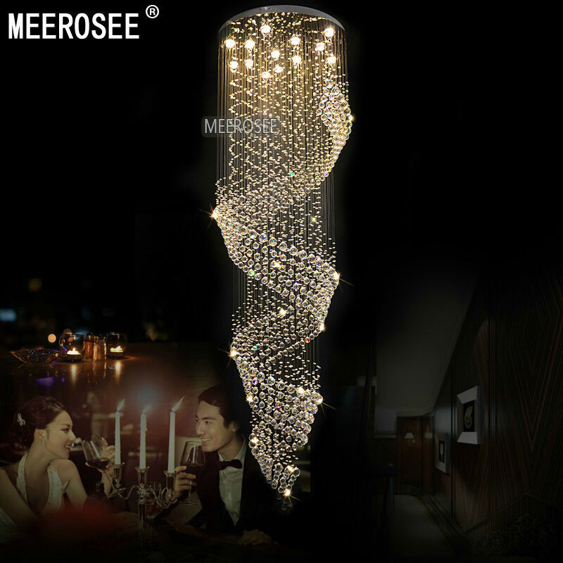 Long Size Crystal Chandelier Light Fixture for Lobby, staircase Lustre, stairs, foyer Large Crystal lmap Stair Lighting Fixture