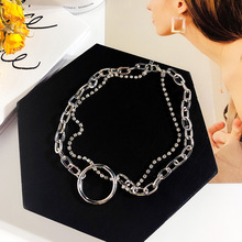 Sexy wild neck ring clavicle chain female Europe and America necklace Korean rhinestone neckband short necklace ring detail lariats necklace