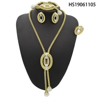 Yulaili European Chain Pendant Necklace Dubai Gold Jewelry Sets Vintage Pattern White Crystal Jewelry Earrings Gifts for Women