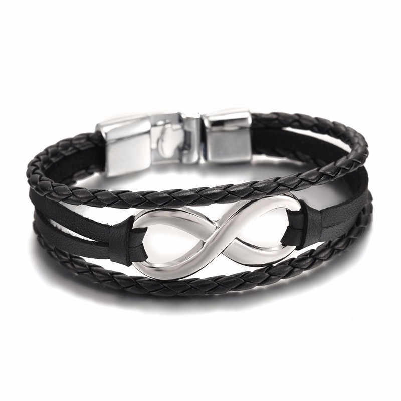 Men Bobo Trendy Black Leather Charm Infinity Couple Bracelets