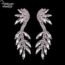 Dvacaman Brand Fashion Leaf Charm Drop Earrings Wedding Bridal Party Crystal Statement Jewelry Luxury Rhinestone Earrings