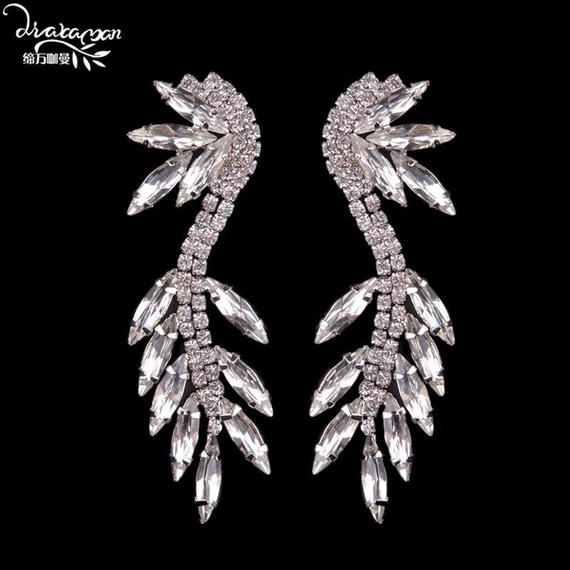 Dvacaman Brand Fashion Leaf Charm Drop Earrings font b Wedding b font Bridal Party Crystal Statement