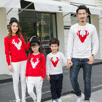 Family Matching Outfits Pullovers Long Sleeve Shits Autumn Spring Sweaters Printing Deer Family Look White Red