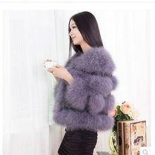 Зимнее супер однотонное длинное меховое пальто без рукавов с натуральным мехом страуса женская короткая Дизайнерская верхняя меховая накидка женские зимние пальто