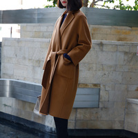 Europe High End 2017 Autumn Winter Women Classic Camel Double Faced Wool Coat Brand New Luxury