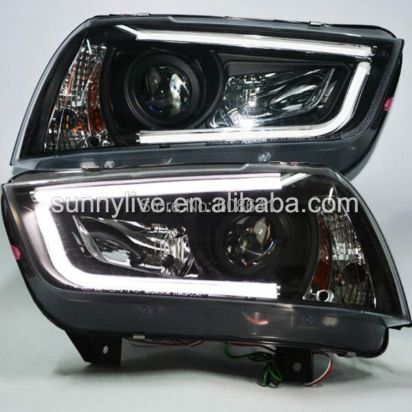 2011 2014 Year for Dodge charger LED Headlights LED strip Head Lamps Black Housing SN-in Car ...