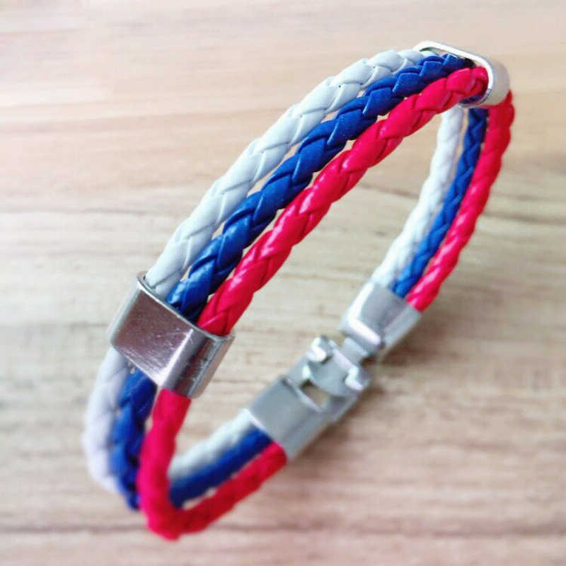 Hot Sales! Fashion Spain Russia France Brazil Germany Flag Leather Team Bracelets for Men women Football Fans Couples Male