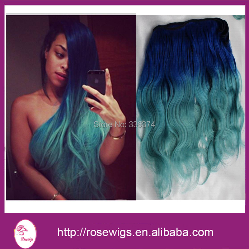 6a Cheap Bluegreen Two Tone Ombre Hair Extensions 3pcs Blue Ombre