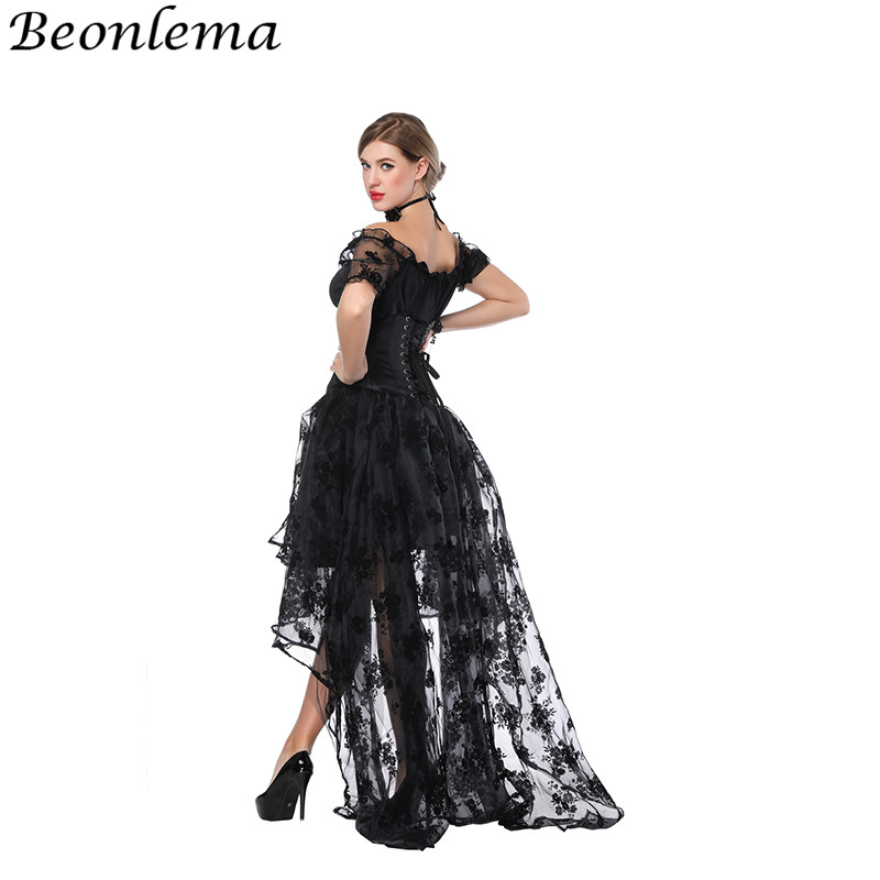 Beomlema Women Underbust   Bustiers   Sexy   Corset   Bra Waist Trainer Body Shaper Top Short Sleeves Lace corselet Dress Long Skirt