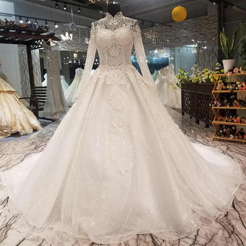 Роскошное мусульманское свадебное платье с длинным шлейфом с высоким воротником и длинными рукавами, кружевное свадебное платье невесты 2019 vestido de noiva