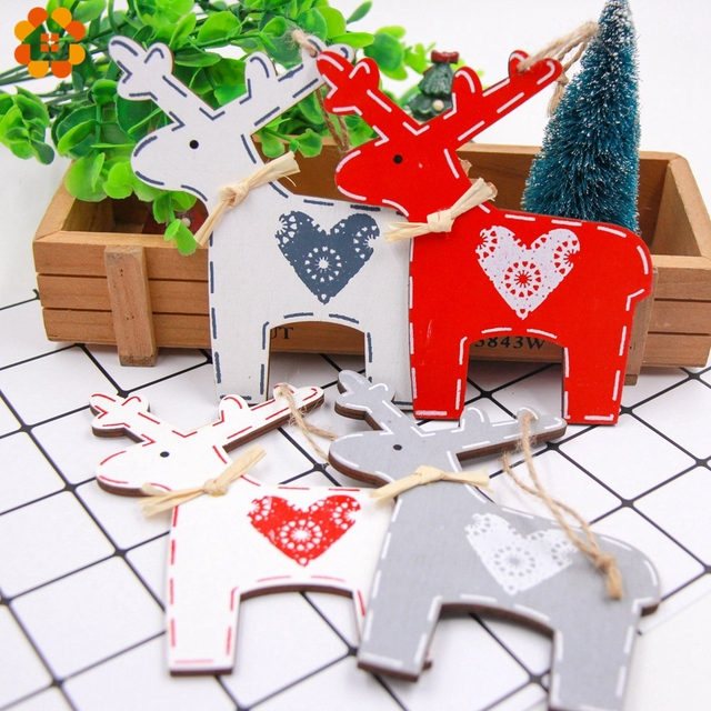 1PC Christmas Deer Wooden Pendants Ornament Cute Heart Deer Xmas Tree Ornament Wood Crafts For Home Christmas Party Decoration
