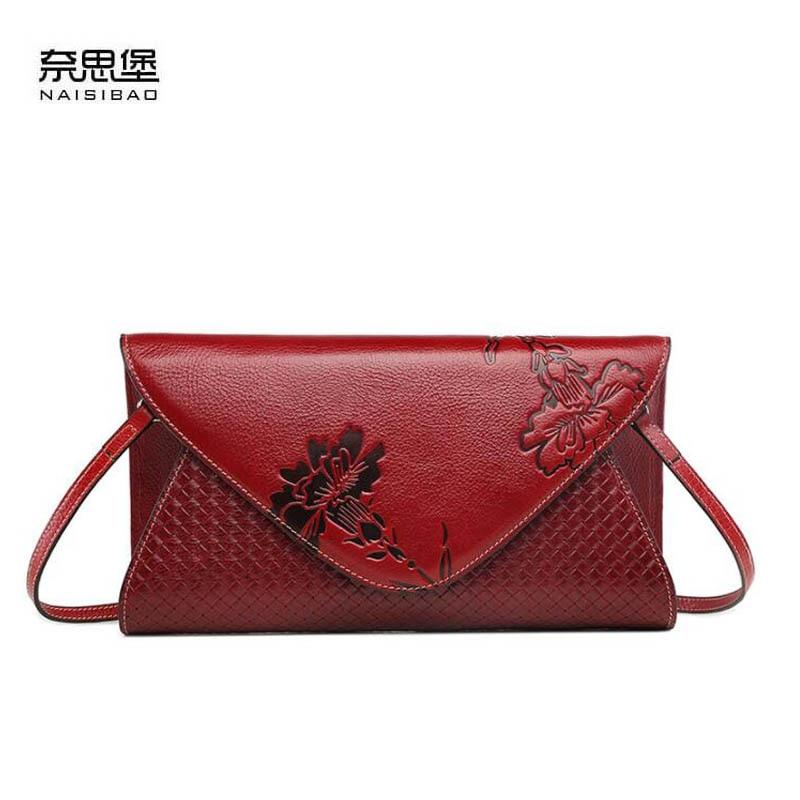2018 New Messenger Bag Leather Handbag Vintage embossed first layer leather envelope bag Shoulder Bags qiaobao spring new first layer of leather shoulder messenger female bag korean fashion trend envelope bag