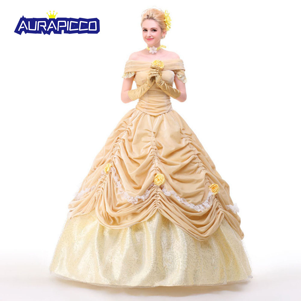 Beauty and the Beast Princess Belle Cosplay Deluxe Satin Dress Ball Gown Adult Women Halloween Costumes Fancy Dress Custom Size