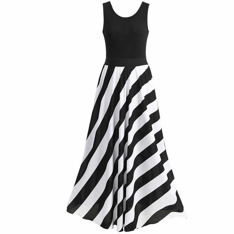 521d033e80c womans fashions 2018 summer striped dress sleeveless women plus size dresses  elegant party long maxi tank