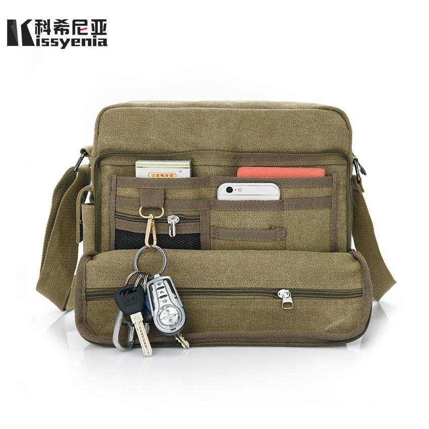 Kissyenia Men s Canvas Multifunction Shoulder Bags Vintage Large Capacity  Messenger Bags for Men Canvas Crossbody Bags 42e521ec86b4d