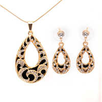 Vintage Silver Gold Color Water Drop Jewelry Sets for Women Fashion CZ Crystal Necklace Earrings African Beads Jewelry Sets Gift