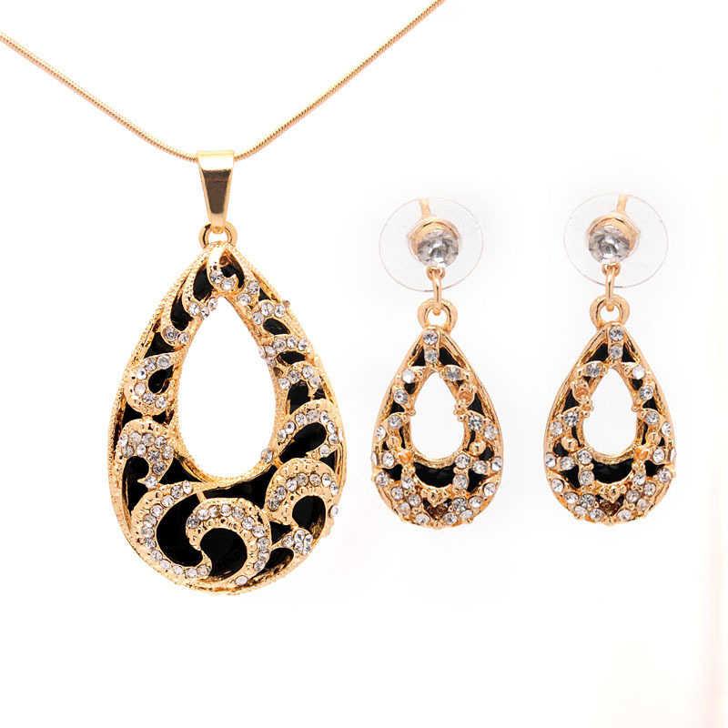 צבע כסף זהב בציר אופנה ערכות תכשיטי טיפת מים לנשים עגילי שרשרת גביש CZ תכשיטי חרוזים אפריקאים ערכות מתנה