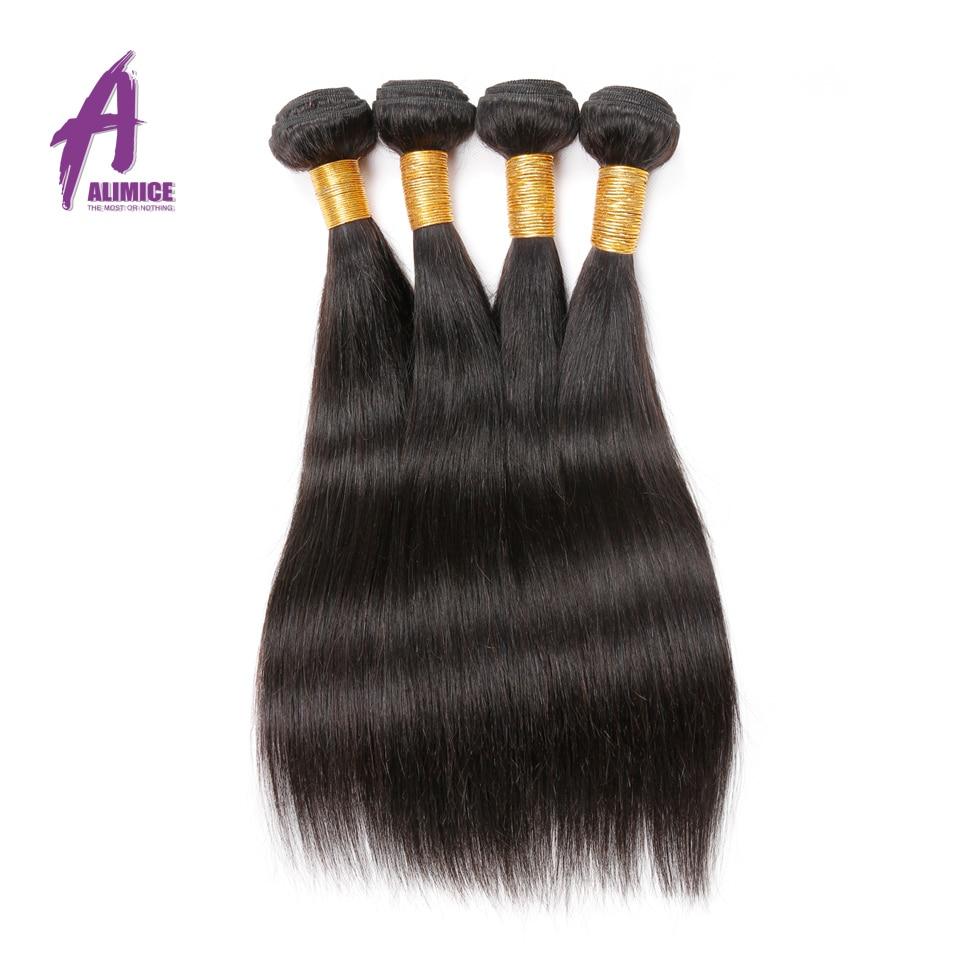 Alimice 인도 스트레이트 헤어 위브 100 % 인간의 - 인간의 머리카락 (검은 색) - 사진 2