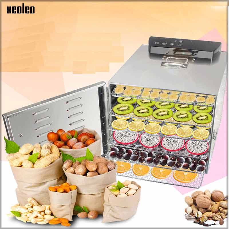 XEOLEO Food dehydrator 6 layers Fruit Drying machine Vegetable dryer Household Stainless steel Food Air dryer 400W with timing home use stainless steel professional food dehydrator vegetable fruit dryer drying machine fruit dried with 7 layers
