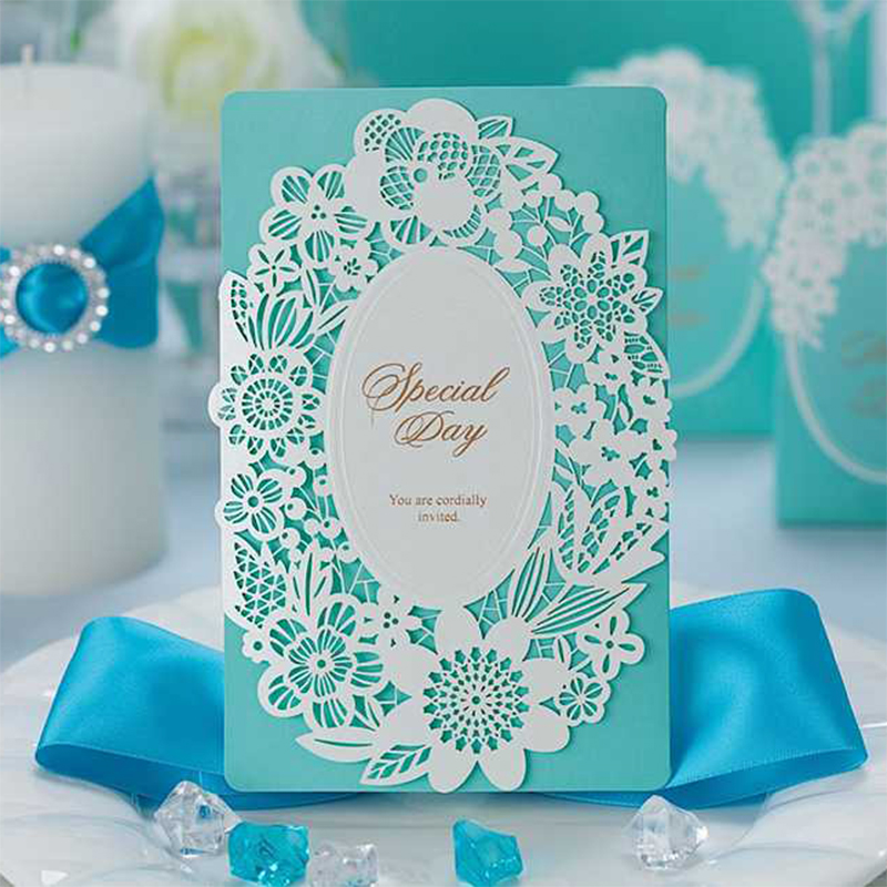 elegant ocean Light Blue Wedding invitations Blank Print Paper Cards Send envelope Lace Post Card Greeting marry 50 100 Set tri folding red white laser cut lace wedding invitations lot paper blank printing invitation cards kit post greeting casamento