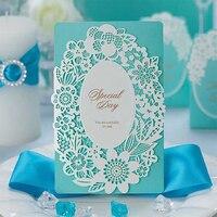 elegant ocean Light Blue Wedding invitations Blank Print Paper Cards Send envelope Lace Post Card Greeting marry 50 100 Set