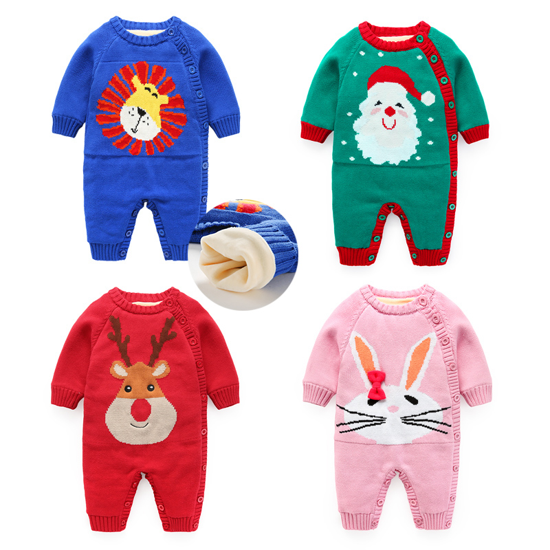 Winter baby knitting romer with velvet infant clothes thickening wholesale