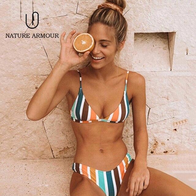 NATURE ARMOUR bikini 2018 new stripe sexy swimsuit print swimwear beach swimming suit for women bikini push up swimwear women